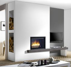 Living room desgn with fireplace modern decor 41 Ideas Minimalist Fireplace, Modern Fireplace, Living Room With Fireplace, New Living Room, Living Room Decor, Inset Fireplace, Fireplace Inserts, Fireplace Surrounds, Fireplace Design