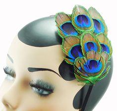 Headband da pena do pavão Uso grampo de cabelo duplo   eBay
