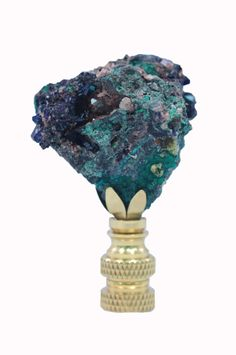 Lamp Finial, azurite and malachite // available at www.handcutdesign.com Malachite, Shells, Stones, Vase, Lighting, Home Decor, Conch Shells, Rocks, Decoration Home