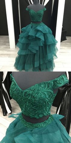 Elegant Two Piece A-Line Off-The-Shoulder Green Tiered Long Prom Dress With Appliques P1005 #promdress #promdresses #promgown #promgowns #long #prom #modestpromdress #newpromdress #2018fashions #newstyles #lace