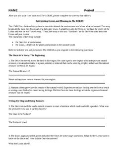 Worksheets Student Worksheet To Accompany The Lorax the lorax by dr seuss free student worksheet science literacy earth day activity humans and environment lesson focus of