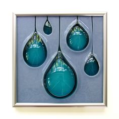 Rain Drops Hand Carved and Fused Glass Art Tile. $130.00, via Etsy.