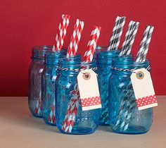 Make your tabletop festive with Anniversary Blue Ball Jars, striped straws and DIY tags!