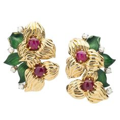 Cartier Ruby Diamond Gold Earclips  | From a unique collection of vintage clip-on earrings at https://www.1stdibs.com/jewelry/earrings/clip-on-earrings/
