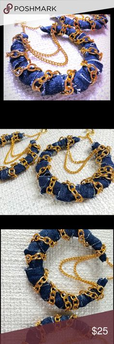 Denim & Gold Bamboo earrings- LUX & CHER jewelry Gold bamboo earrings wrapped in this dark acid washed denim and adorned in Gold chain... can be reproduced in other colors and sizes... please message for more information... thanks for viewing  LUX & CHER jewelry Jewelry Earrings