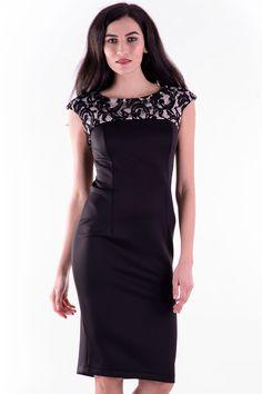 Rochie Rina Negru Dantela – Karla.Club Shoulder Dress, One Shoulder, Club, Dresses, Fashion, Gowns, Moda, La Mode, Dress