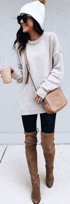 #winter #outfits gray knit sweater and brown Gucci leather crossbody bag