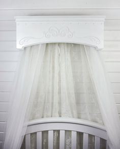 Crib Canopy Bed Crown Wall Cornice Girl Bedroom Posh Nursery & Vintage Grey Carved Wood Canopy Bed Crown | BABY | Pinterest | Bed ...