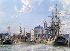 John Stobart Charleston Loading Cotton Alongside The Exchange C 1820 Old Sailing Ships, Sailing Boat, Nautical Artwork, Charles Town, Duck Art, Sea Of Thieves, Ship Drawing, Realism Art, Boat Plans