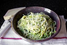 Spaghetti with broccoli cream pesto. I think I could learn to like broccoli with this recipe.