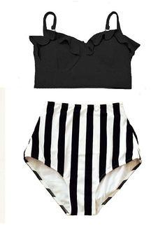 Black Midkini Top and White/Black Stripe High Waisted Waist Highwaist Shorts Bottom Swimsuit Swimwear Bikini set Bathing suit wear S M L XL