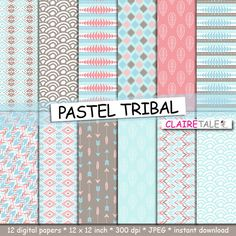 "Tribal digital paper: ""PASTEL TRIBAL"" with tribal patterns and tribal background, arrows, feathers, leaves, chevron in pastel blue and brown by clairetale. Explore more products on http://clairetale.etsy.com"