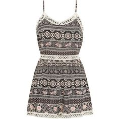 Parisian Folk Print Crochet Trim Playsuit ($16) ❤ liked on Polyvore featuring jumpsuits, rompers, dresses, playsuits, jumpsuit, playsuit jumpsuit, jump suit, print romper, print jumpsuit and patterned romper