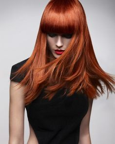 Color, color, color! Very rich red, squared bangs.. buh-bye layers? I would need to grow out my existing layers for this look...