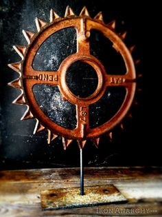 Antique industrial gear decor on IronAnarchy.com