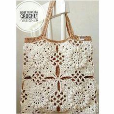 crochet bag, no pattern Bandeau Crochet, Crochet Tote, Crochet Blocks, Crochet Handbags, Crochet Purses, Crochet Squares, Love Crochet, Knit Crochet, Handmade Handbags