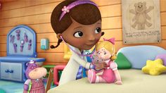 "Aimed at preschoolers, ""Doc McStuffins"" centers on its title character, a 6-year-old African-American girl. Description from originalpeople.org. I searched for this on bing.com/images"