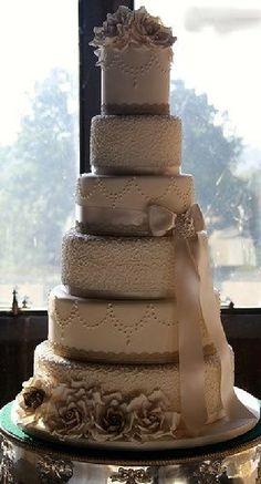 Elegant wedding cake vintage brown coffee cream.