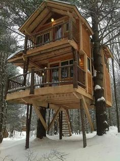 Two-story log cabin tree house!!!