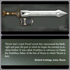 """Even though both are beautiful in their own way, I have always preferred Thorin's dwarven sword """"Deathless"""" over the elven sword """"Orcrist"""". As time crept closer to the final chapter of the Hobbit trilogy, I really wanted to be able to have something of my own to honor Thorin and the Line of Durin. .."""