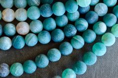 10mm Sea Green Fire Agate Stone Beads, Gemstone, Crackle Agate, 10 Beads, Matte Finish, Frosted Unpolished Agate Beads Purple Agate Beads by TheBeadBandit on Etsy