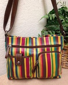 b92a54e8554 Relic Multi Color Striped Pebble Faux Leather Crossbody Bag Shoulder Handbag  VGC   eBay