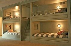 Awesome Sleep-Over Room!! You could even have the stairs go up to an eating area or kitchenette or bathroom/makeover station with racks of clothes