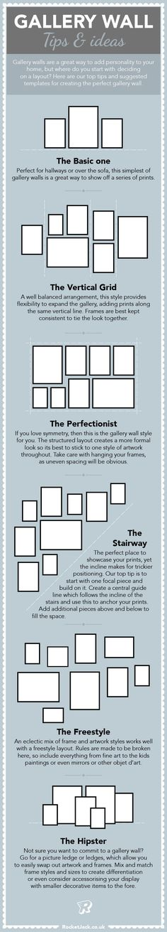 Gallery walls are a great way to add personality to your home, but where do you start with selecting prints, and then deciding a layout? Here are our top tips and suggested templates for creating the perfect gallery wall. Gallery Walls, Gallery Gallery, Wall Ledge, Picture Ledge, Makeup Blog, Painting For Kids, Stairways, Personality, Photo Wall