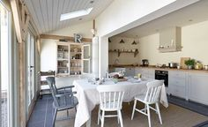 Kitchen with extension! Modern Country Style: Vintage Industrial Style Kitchen From A Border Oak Home! Click through for details. Small Kitchen Diner, Kitchen Diner Extension, Country Kitchen, Shaker Kitchen, Kitchen Ideas, Small Kitchens, Kitchen Inspiration, Kitchen Designs, Shabby Chic Interiors