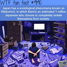 Japan has a sociological phenomena known as Hikikomori, in which there's an estimated 1 million Japanese who choose to completely isolate themselves from society. Love Facts, Real Facts, Wtf Fun Facts, Crazy Facts, Japan Facts, Cognitive Psychology, General Knowledge Facts, Psychology Quotes, The More You Know