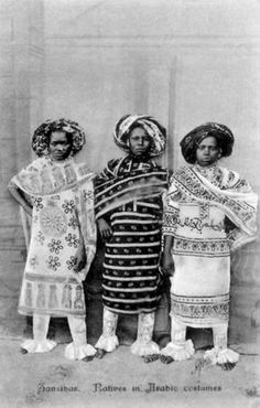 "Africa | Swahili girls.  Zanzibar.  ca. 1900 - 1910 | Vintage postcard; photographers A. P de Lord ~ Pereira de Lord and his brother; their work often labeled ""Photo Artists, Zanzibar."""