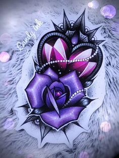 Dimonds Tattoo : neo traditional girly heart crystal diamond & rose tattoo design