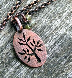 Wow that is amazing work with a jewelers saw. Tree of Life Pendant with Green Garnet, Copper Chain  Necklace. $34.00, via Etsy.