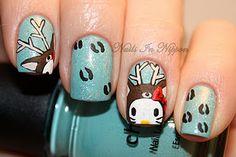Hello Kitty Reindeer nails so cute! #hellokitty