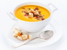 Pumpkin soup with croutons on white background Food Photography Styling, Food Styling, Pumpkin Soup, Soups And Stews, Soup Recipes, Oatmeal, Cooking, Breakfast, Beverage