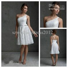 Wholesale Ivory Lace One-shoulder Waist A-line Bridesmaid Dresses Short Fashion 2013 Party Bridemaid Dress, Free shipping, $113.64/Piece | DHgate