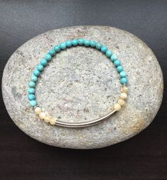 Natural Mother of Pearl, Turquoise, and Silver Bar/Tube Stretch Bracelet by Kosmikchic on Etsy