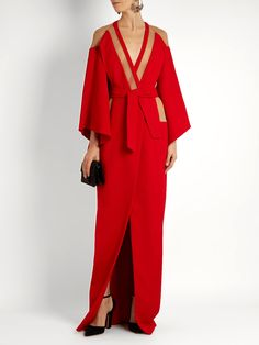 Balmain V-neck tie-waist panelled crepe gown