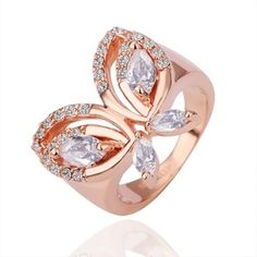Plated Rose Gold Ring Butterfly Swarovski Elements Ring