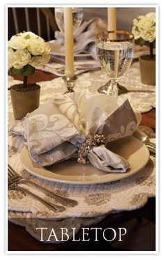 Elegant napkins and placemats from C & F at Bedford Fields