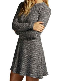 Trendy Round Neck Long Sleeve Solid Color Flounced Sweater Dress For Women