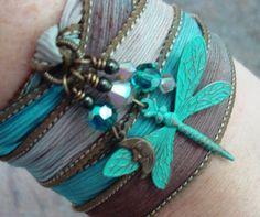 Ribbon Wrap Bracelet Silk Ribbon Bracelet with a by JensFancy, $32.00