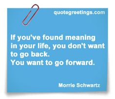 If you have found meaning in your life, you don't want to go back. You want to go forward. ~Morrie Schwartz #InspirationalQuotes #Quotes #LifeQuotes