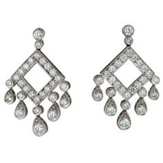 TIFFANY & CO Legacy Collection Open Square Drop Earrings