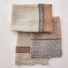 beautiful linen tea towels in grays and warm neutrals