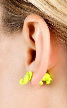 Neon Elephant Earrings