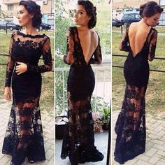 Black Flowers Embroidery Grenadine V-Back Long Sleeve Evening Party Cocktail Hollow Lace Dress