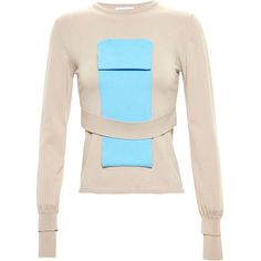 J.W. Anderson Folded Colour-Block Jumper ($672) ❤ liked on Polyvore featuring tops, sweaters, multicolour, slimming tops, multi colored sweater, pink jumper, colorful sweaters and block tops