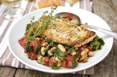 Sauteed white fish with Swiss chard and cannellini beans