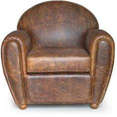 "Cigar-style Vintage Leather Club Chair $563.99 35"" wide x 32"" deep x 34"" high (can add bigger legs) #LeatherChair"